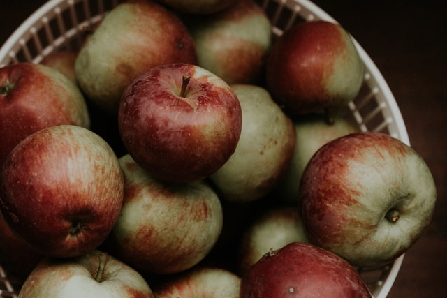 ripe apples in a basket ready for preparation to be frozen