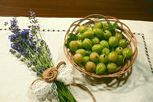 Basket of gooseberries with a bunch of lavender beside it
